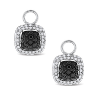 KC Designs Black And White Diamond Square Earring Charms in 14k White Gold with 134 Diamonds