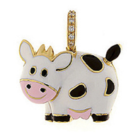 Aaron Basha 18K Yellow Gold Cow with Black Spots