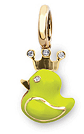 Aaron Basha 18K Yellow Gold Fluorescent Yellow Rubber Duckie with Crown