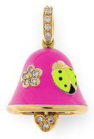 Aaron Basha 18K Yellow Gold Flower and Ladybug Bell