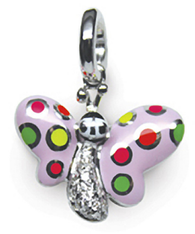 Aaron Basha 18K White Gold Butterfly with Fluorescent Spots