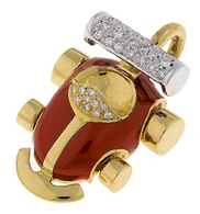 Aaron Basha 18K Yellow Gold Red Grand Prix with Pave Spoiler