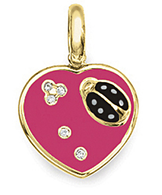 Aaron Basha 18K Yellow Gold Pink Flat Ladybug Heart