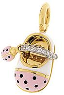 Aaron Basha 18K Yellow Gold Pink Ladybug Diamond Strap Shoe with Ladybug Accent