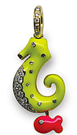 Aaron Basha 18K Yellow Gold Fluorescent Yellow Seahorse with Fish Accent