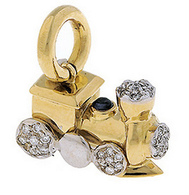 Aaron Basha 18K Yellow Gold Choo Choo Train with Pave Diamonds (Small)