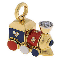 Aaron Basha 18K Yellow Gold Choo Choo Train with Diamond Hearts and Stars.