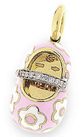 Aaron Basha 18K Yellow Gold Pink with White Flowers Diamond Strap Flower Shoe