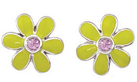 Aaron Basha White Gold Lime Green with Pink Sapphire Daisy Earrings