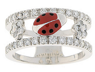 Aaron Basha White Gold Diamond Double Decker Ring