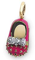 Aaron Basha Fluorescent Pink Stud Shoe with Diamond Bow