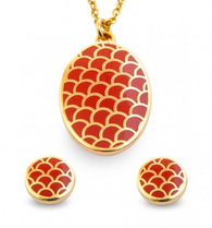 HALCYON DAYS SALAMANDER RED PENDANT & EARRINGS SET