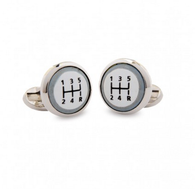 HALCYON DAYS GEAR STICK ROUND CUFFLINKS