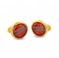 HALCYON DAYS CRICKET BALL ROUND CUFFLINKS