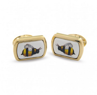HALCYON DAYS BUMBLE BEE RECTANGULAR CUFFLINKS