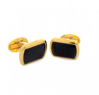 HALCYON DAYS BLACK & GOLD RECTANGULAR CUFFLINKS