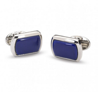 HALCYON DAYS COBALT & SILVER RECTANGULAR CUFFLINKS