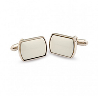 HALCYON DAYS IVORY & SILVER RECTANGULAR CUFFLINKS
