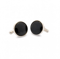 HALCYON DAYS BLACK & SILVER ROUND CUFFLINKS