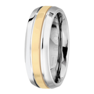 Scott Kay Unity Yellow Gold Wedding Band Single Gold Stripe Raised