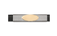 Grand Band Classic Collection Sterling Silver Pinstripe w/14Kt. Yellow Gold Engraveable Plate