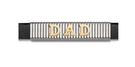 Grand Band Classic Collection Sterling Silver Vertical Pinstripe Grand Band with 14kt. Yellow Gold Raised Letters DAD