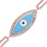 Aaron Basha 18K Rose Gold Dual Chain Evil Eye Bracelet (small)