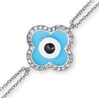 Aaron Basha 18K White Gold Dual Chain Evil Eye Bracelet