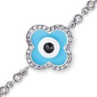 Aaron Basha 18K White Gold Diamond Rim Evil Eye Bracelet