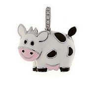Aaron Basha 18K White Gold Cow with Black Spots