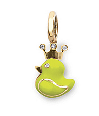 Aaron Basha 18K Rose Gold Fluorescent Yellow Rubber Duckie with Crown