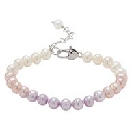 Honora Girls Pearl Bracelet Multicolored Freshwater Pearls in Color Order