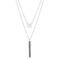 Honora Womens Pearl Bar Layer Necklace in Sterling Silver with White Button Freshwater Cultured Pearl