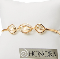 Honora Womens 14KY 6-7mm White Round Freshwater Cultured Pearls Cage Cuff Bracelet