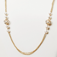 """Honora Womens 14KY 6-6.5mm White Round Freshwater Cultured Pearls Cage Tincup Triple Chain 24"""" Necklace"""