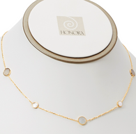 "Honora Womens 14KY Gold Fresh Water Cultured Mother of Pearl Slice Circle Tincup 18"" Necklace"