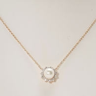 """Honora Womens 14KY 8-8.5mm Round Fresh Water Cultured Pearls with .24ct Diamond 18"""" Necklace"""