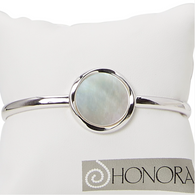 Honora Womens Sterling Silver 20mm White Mother of Pearl Freshwater Cultured Pearl Single Cuff Bracelet