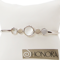 Honora Womens Sterling Silver 7-11mm White Mother of Pearl Freshwater Cultured Pearl Multi Cuff Bracelet