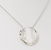 """Honora Womens Sterling Silver 24mm White Mother of Pearl Freshwater Cultured Pearl 18"""" Pendant"""