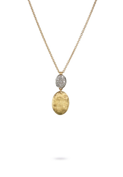 Marco Bicego Siviglia Diamond two bead pendant necklace in pave diamond and yellow gold.