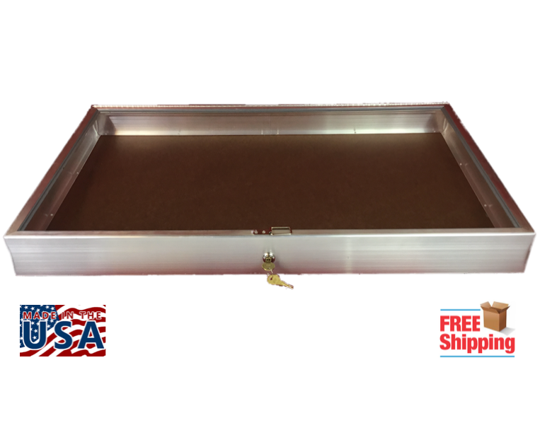 Aluminum Display Case Side Opening 22 x 34x3 1//4 Knives Cards Gun Jewelry /& More