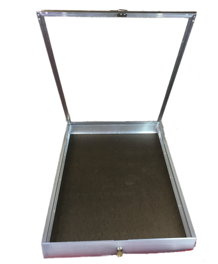 34 Inch Wide Portable Lightweight Large Locking Aluminum Showcase