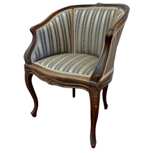 Antique French Tub Chair with Striped Upholstery