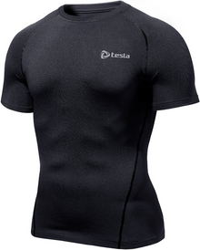 Mens Compression Black Short Sleeve Skins Gym Workout Fitness Tesla