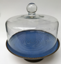 "10"" Cake Stand with Vintage Dome shown in Quinn's Blue. Hand wash only."