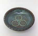 Dipping bowl shown here with turquoise glaze inside and turtle shell  glaze outside.