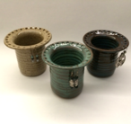 """Earring keepers are 4"""" tall and shown here in oatmeal, turquoise and iron lustre."""