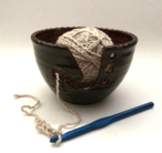 Yarn keeper available in small, shown here, or large. Yarn and needle not included.