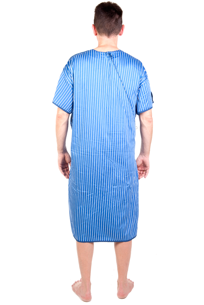 Blue and White Stripe Hospital Gown